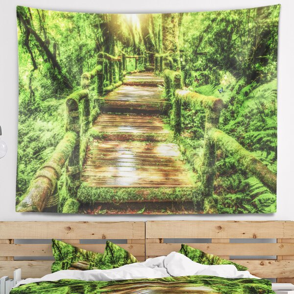 Photography Moss Around Wooden Walkway in Rain Tapestry by East Urban Home