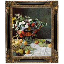 D6050 Claude Monet Still Life with Flowers and Fruit 1869 Hand Painted Museum Quality Oil Painting Reproduction