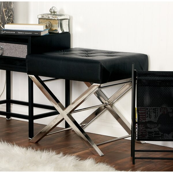 Stainless Steel and Tufted Leather Vanity Stool by Cole & Grey