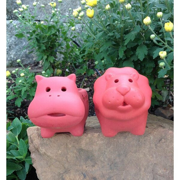 Setzer Lion and Hippo 2-Piece Terracotta Pot Planter Set by August Grove