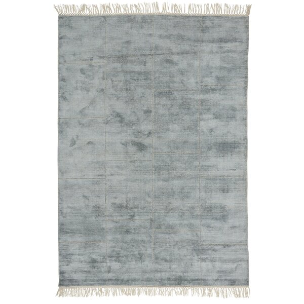 Bourquin Hand Knotted Wool Turquoise Area Rug by Everly Quinn