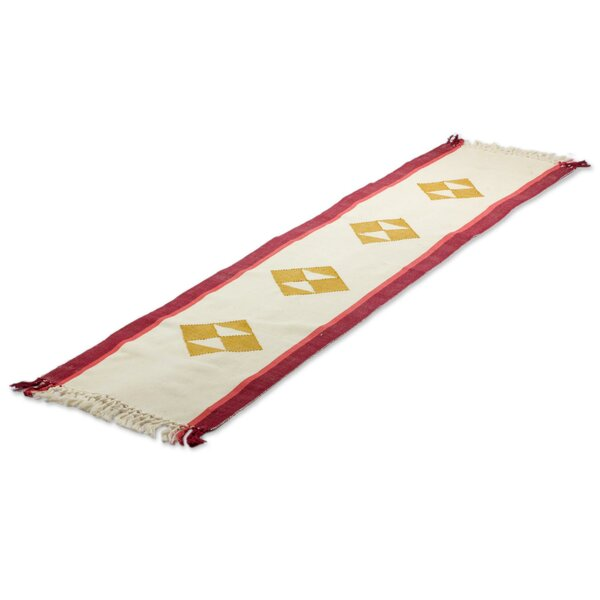 Cherry Orchard Path Cotton Table Runner by Novica