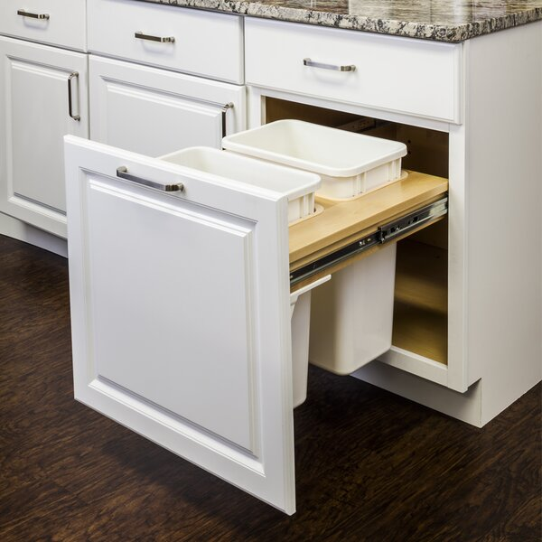 Top Mount Soft-Close Double Solid Wood Open Pull Out/Under Counter Trash Can by Hardware Resources