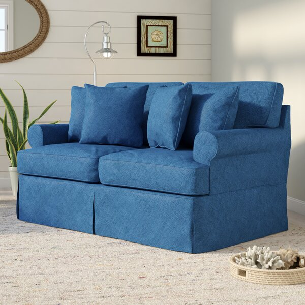 Modern Style Rundle Slipcovered Loveseat by Beachcrest Home by Beachcrest Home