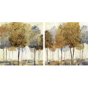 Metallic Forest I & II by Nan 2 Piece Painting Print on Canvas Set (Set of 2) by Star Creations