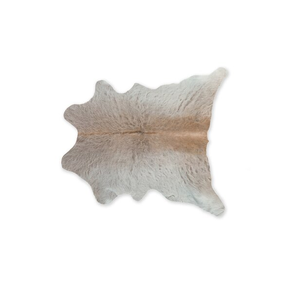 Taunton Calfskin Cowhide Light Gray Area Rug by Union Rustic