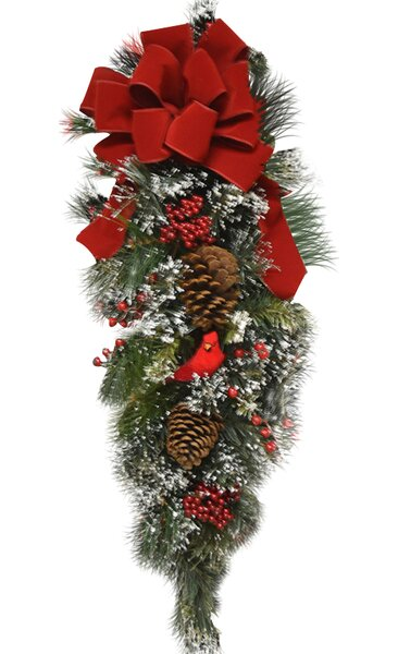 Holiday Cardinal Door Swag with Flocked Snow by Floral Home Decor