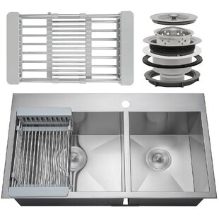 33 x 22 Drop-In Top Mount Stainless Steel Double Bowl 60/40 Kitchen Sink w/ Adjustable Tray and Drain Strainer Kit ByAKDY