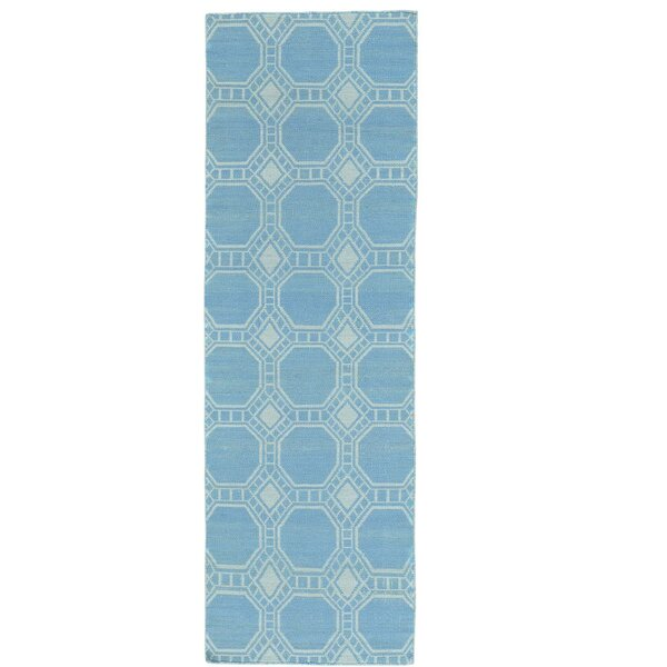 Reversible Kilim Hand-Knotted Blue Area Rug by Bungalow Rose