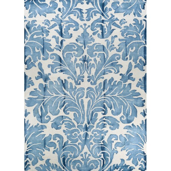 Straun Hand-Tufted Wool Blue Area Rug by House of Hampton