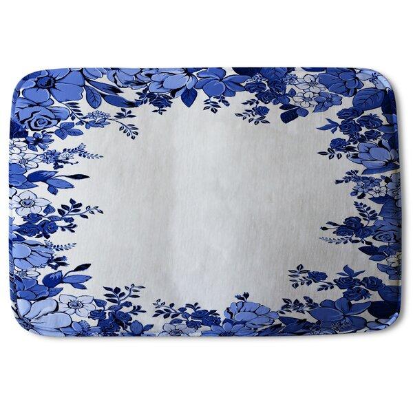 Fille Winter Frame Designer Rectangle Non-Slip Floral Bath Rug