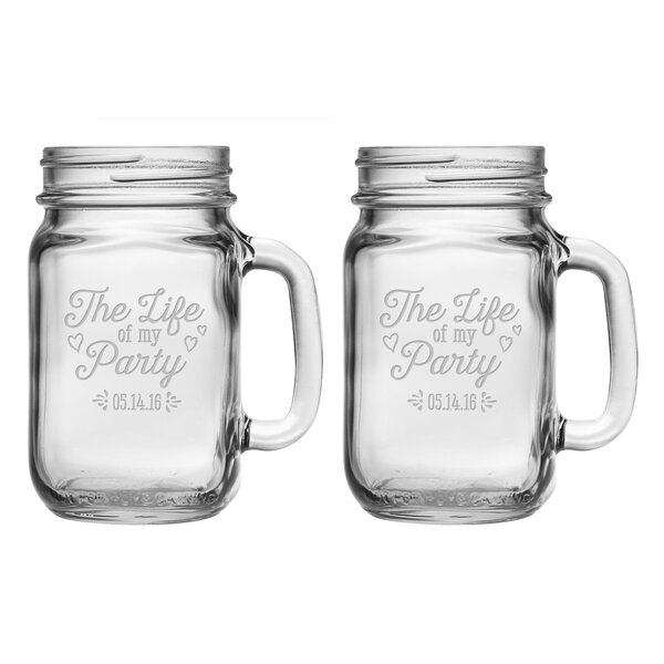 Life of My Party Drinking Jar (Set of 2) by Susquehanna Glass