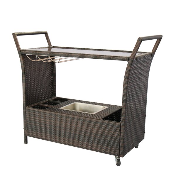Iowa Wicker/Rattan Bar Cart by Alcott Hill