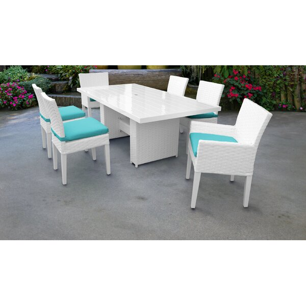Miami 7 Piece Outdoor Patio Dining Set with Cushions by TK Classics