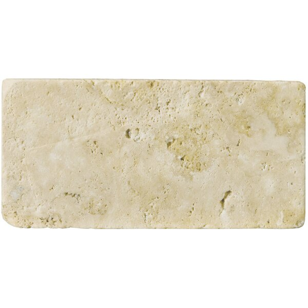 Travertine 3 x 6 Subway Tile in Unfilled Tumbled Ancient Beige by Emser Tile