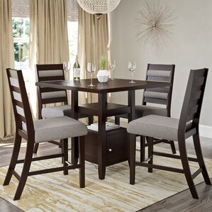 Leiters Transitional 5 Piece Counter Height Dining Set by Three Posts