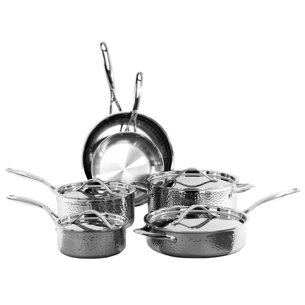 10 Piece Hammered Stainless Steel Cookware Set by Oneida