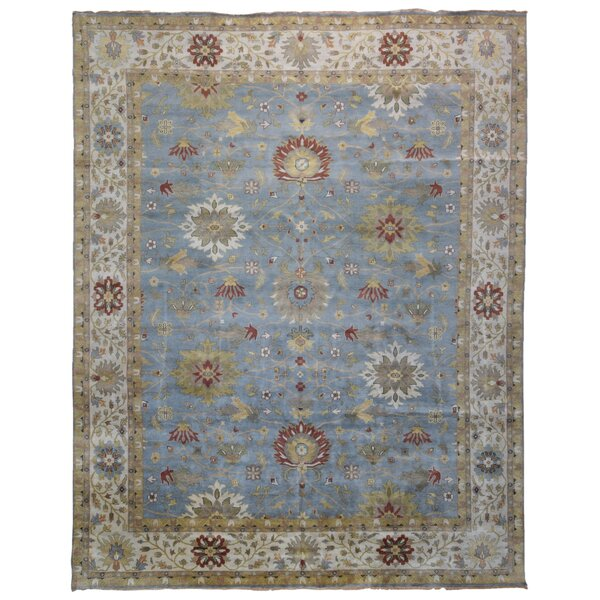 One-of-a-Kind Waldrep Oriental Hand-Knotted Wool Blue/Beige Area Rug by Isabelline
