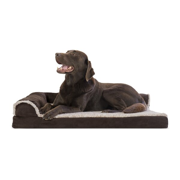 Callie Two-Tone Faux Fur and Suede Deluxe Orthopedic Dog Sofa by Tucker Murphy Pet