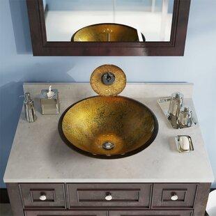 Bargain Foil Undertone Glass Circular Vessel Bathroom Sink ByMR Direct