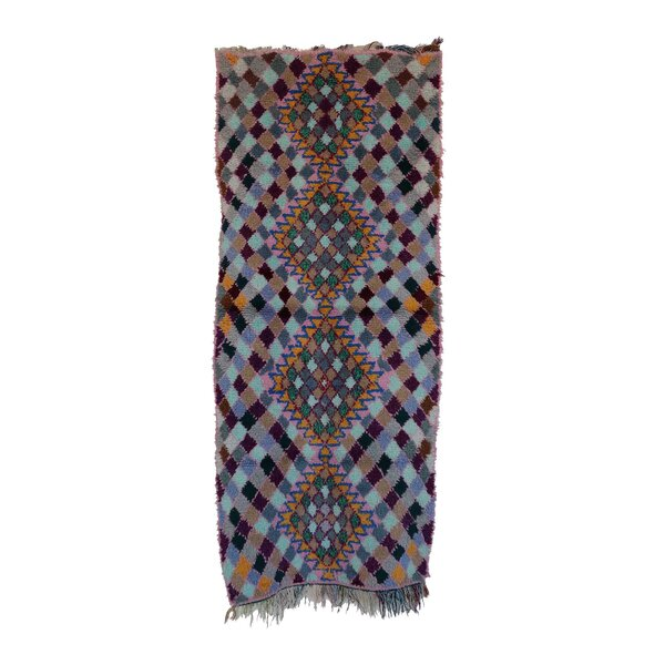 Moroccan Hand Woven Wool Blue/Gray/Brown Area Rug by Indigo&Lavender