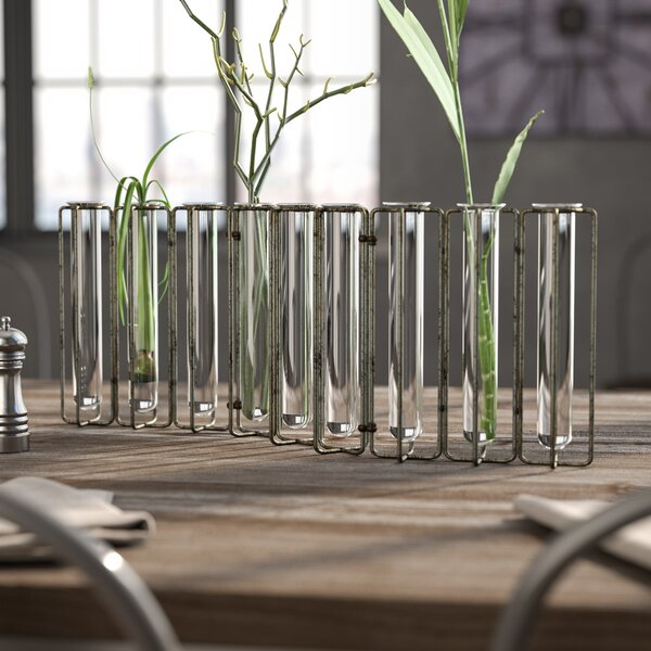Doucet Metal and 9 Glass Test Tubes Jointed Vase by Williston Forge