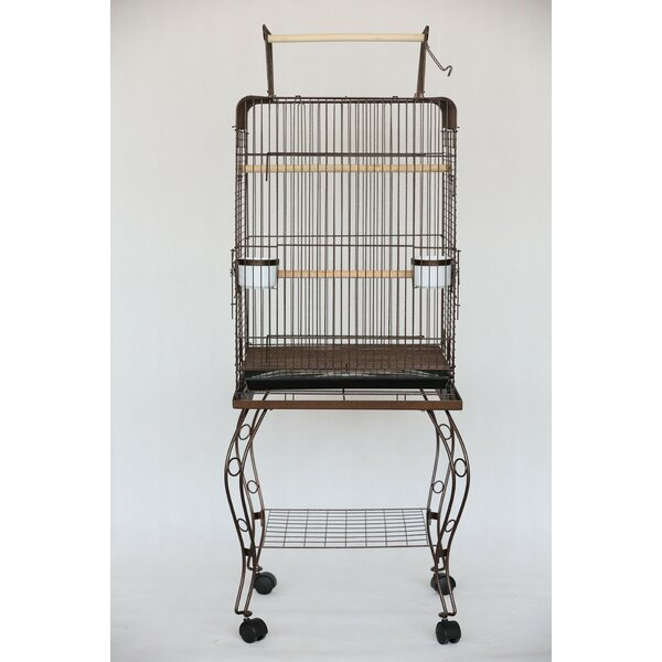 Halbert Open Top Parrot Bird Cage with Stand by Tu