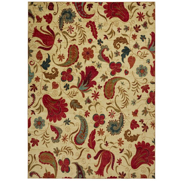 Virginia Beige/Red Area Rug by Andover Mills