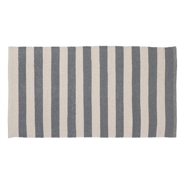 Awning Stripe Hand-Woven Gray/Cream Indoor/Outdoor Area Rug by Home Furnishings by Larry Traverso