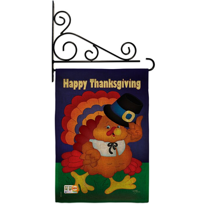 2 Sided Happy Thanksgiving Turkey Decorative House Flag 28 X 40 Premium