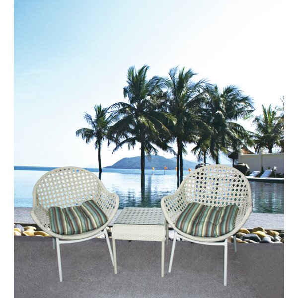 Grimm 3 Piece Rattan Conversation Set with Cushion by Bayou Breeze