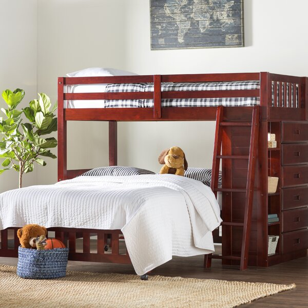 Giuliano Twin Over Full L-Shaped Bunk Bed with Drawers and Bookcases by Birch Lane™ Heritage
