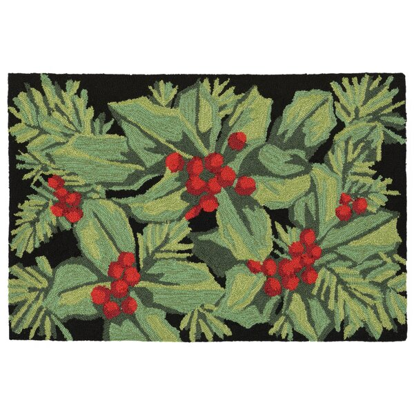 Hollyberries Hand-Tufted Black Indoor/Outdoor Area