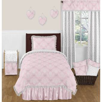 and Avery Collection Bedding Sets B01FUY4FYC Skylar Sweet Jojo Designs Gray and White Damask Crib Bed Skirt Dust Ruffle for Elizabeth