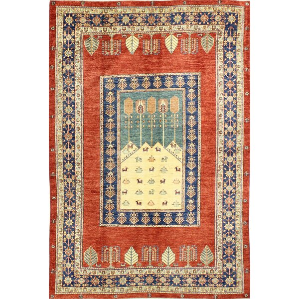 One-of-a-Kind Shealey Hand Woven Wool Red/Beige/Blue Area Rug by Isabelline