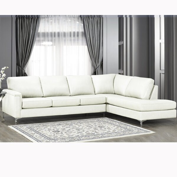Price Sale Platte Premium Top Grain Italian Leather Right Hand Facing Sectional