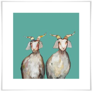 'Pair of Goats' by Eli Halpin Print of Painting on Paper by GreenBox Art
