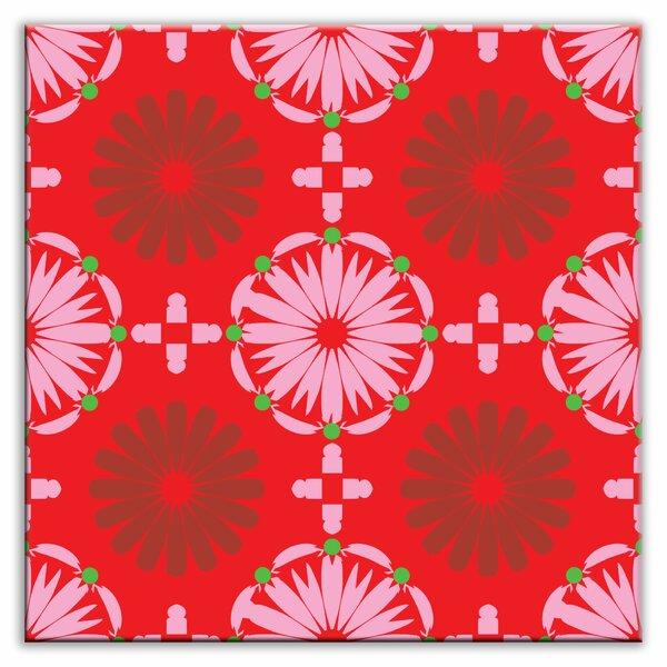 Folksy Love 4-1/4 x 4-1/4 Satin Decorative Tile in Kaleidoscope Pink-Red by Oscar & Izzy