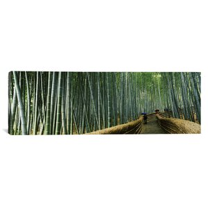 Panoramic Stepped Walkway Passing Through a Bamboo Forest, Honshu, Japan Photographic Print on Wrapped Canvas by iCanvas