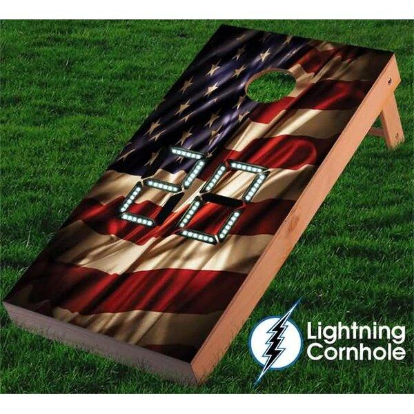Electronic Scoring USA Flag Cornhole Board by Lightning Cornhole