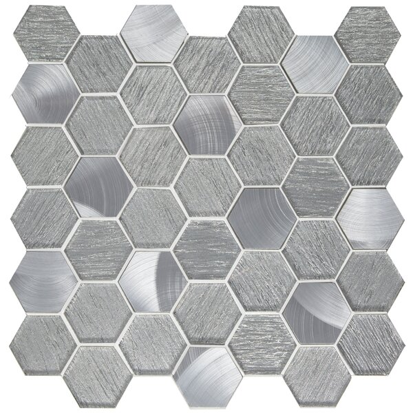 Glitz 2 x 2 Glass/Aluminum Mosaic Tile in Glory by Emser Tile