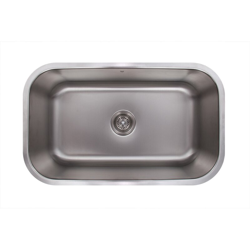 Medium image of 30 inch undermount single bowl 18 gauge stainless steel kitchen sink with aylesbury stainless steel faucet