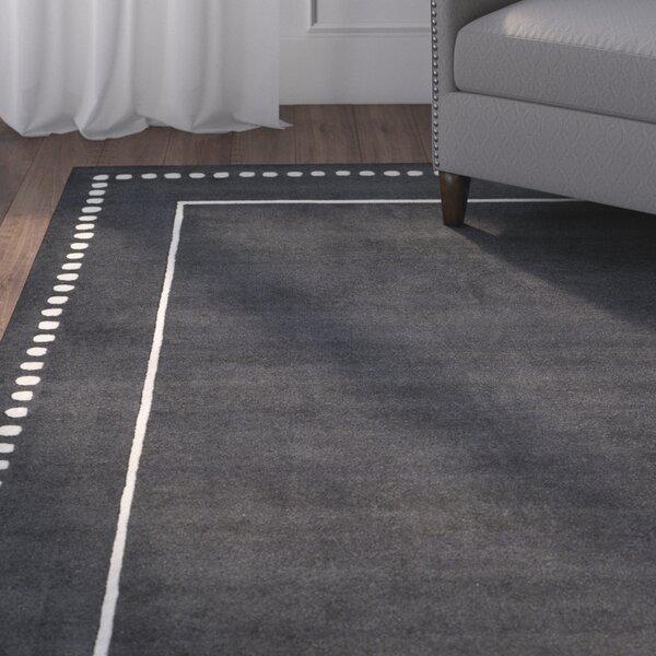Amundson Hand-Tufted Dark Grey/Ivory Indoor Area Rug by Charlton Home