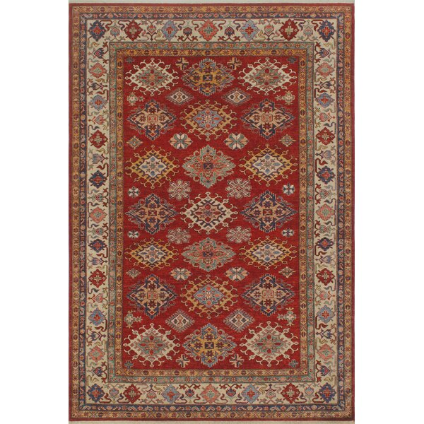 One-of-a-Kind Bronzewood Hand-Knotted Wool Red Area Rug by Isabelline