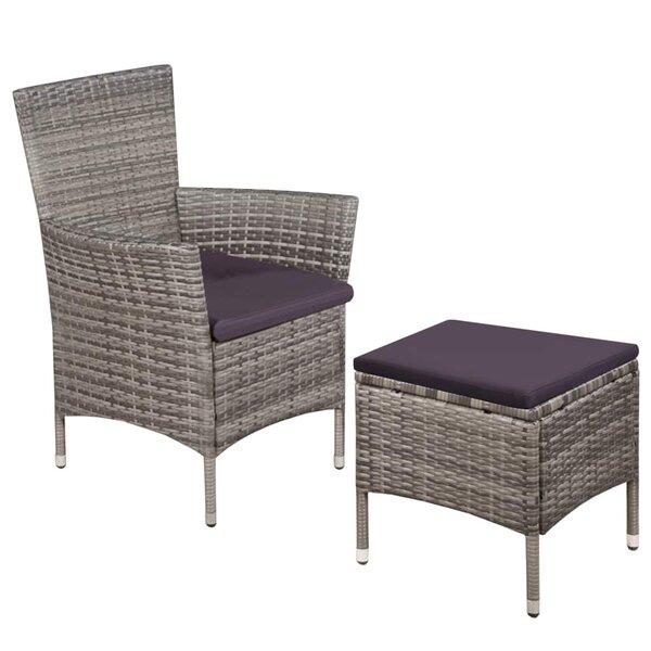 Debelis Poly Rattan Recliner Patio Chair with Cushions and Ottoman by Latitude Run Latitude Run