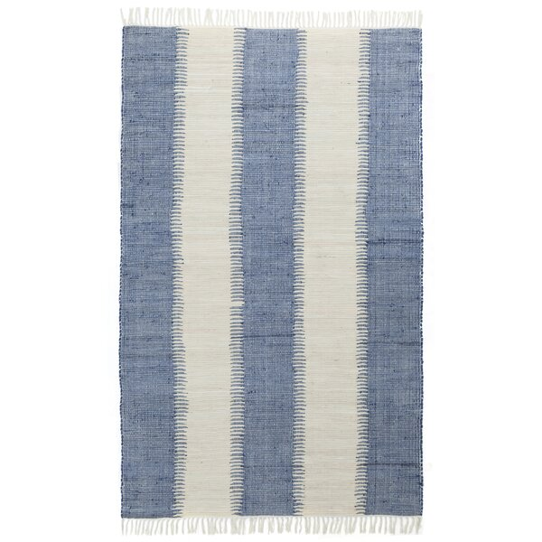 Bruges Jagged Handmade-Flatweave Cotton Blue/White Area Rug by Highland Dunes