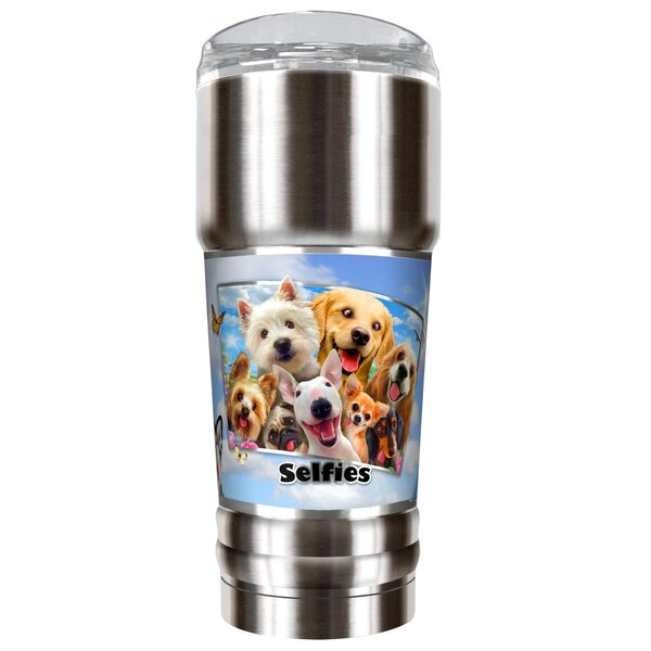 Dog Selfies 32 oz. Stainless Steel Travel Tumbler by Great American Products