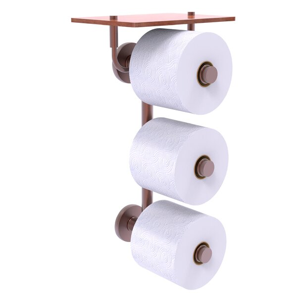 Dalston Wall Mount Toilet Paper Holder with Wood Shelf