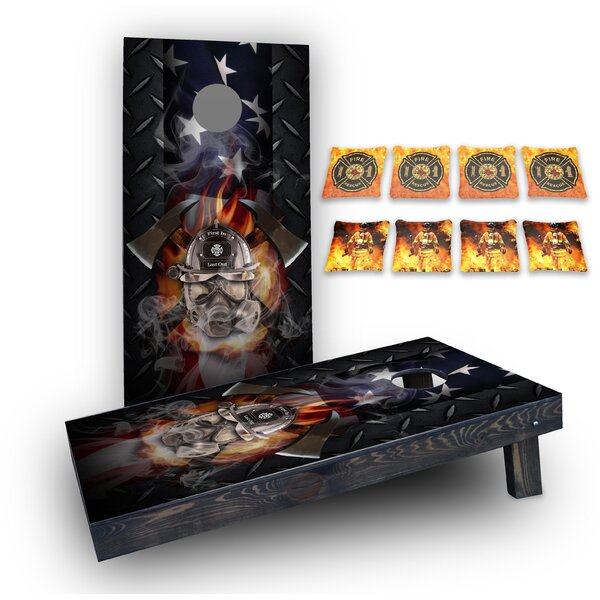 Firefighter Mask Custom 10 Piece Cornhole Board Set by Custom Cornhole Boards
