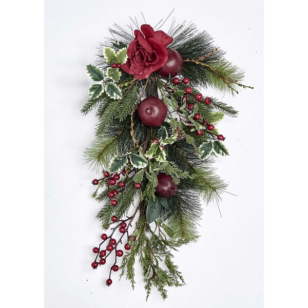 25 Pine Tear Drop Pomegranate and Rose Swag by Millwood Pines